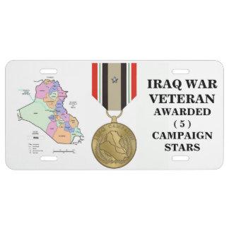 5 DER KAMPAGNEN-STERN-IRAK-KRIEGSVETERAN US NUMMERNSCHILD