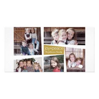 5 Foto-Feiertags-Collagen-Retro Freude und Frieden Foto Karten Vorlage