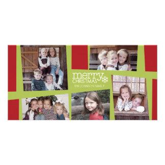 5 Foto-Feiertags-Collagen-Retro Freude und Frieden Personalisierte Photo Karte