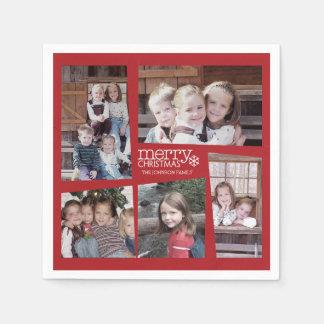 5 Foto-Feiertags-Collagen-Retro frohe Weihnachten Papierservietten