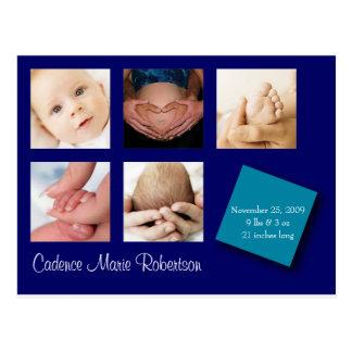 5 Foto-Geburts-Mitteilung Postkarte