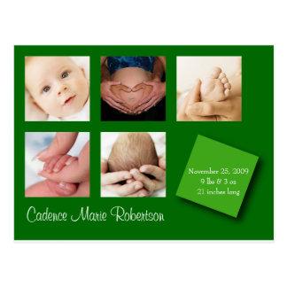 5 Foto-Geburts-Mitteilungs-Grün Postkarte