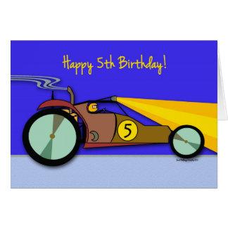 5. Geburtstag für Kind, Dünen-Buggy-Rennen-Auto Karte