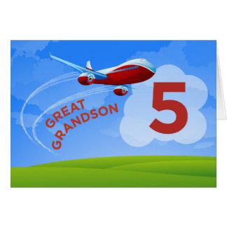 5. Geburtstag, groß - Enkel, rotes Flugzeug Karte