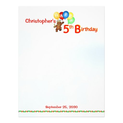 5. Geburtstag trägt Einklebebuch-Papier 1 Vollfarbige Flyer