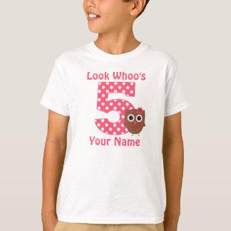 5. Geburtstags-Eulen-personalisiertes Shirt