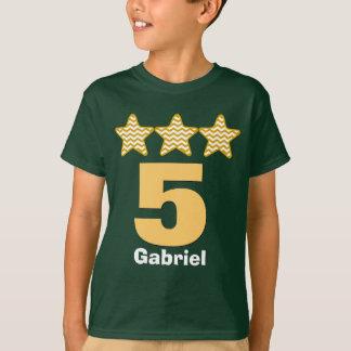 5 Geburtstags-Jungen-Stern-großer T-Shirt