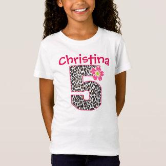 5. Geburtstags-Mädchen-Pink u. Leoparddruck T-Shirt
