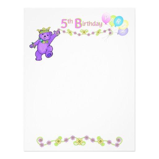 5. Geburtstags-Party-Prinzessin Bear Scrapbook Pap Bedruckte Flyer