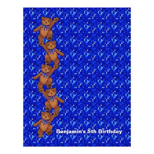 5. Geburtstags-Tanzen-Bärn-Einklebebuch-Papier 2 Individuelle Flyer