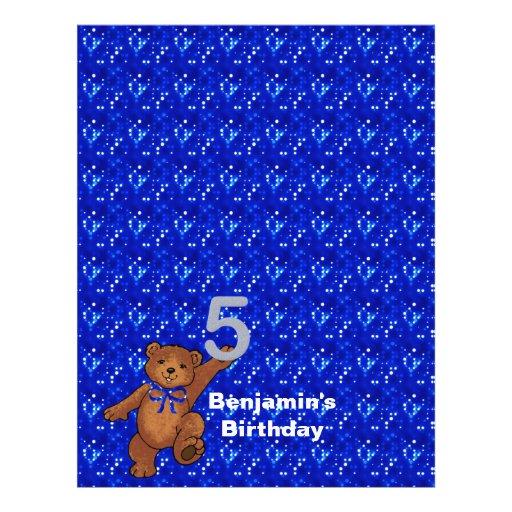 5. Geburtstags-Tanzen-Bärn-Einklebebuch-Papier 3 Individuelle Flyer