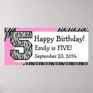 5. GeburtstagZebra mit rosa individuellem Namen Plakatdruck