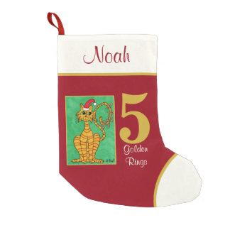 5 goldener Ring-Tier-individueller Name Kleiner Weihnachtsstrumpf