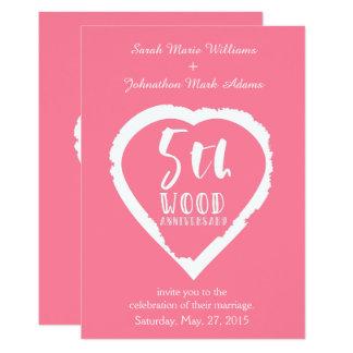 5. Hochzeitstag-rosa Herz Karte