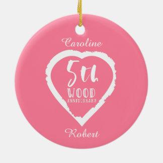 5. Hochzeitstag-rosa Herz Rundes Keramik Ornament