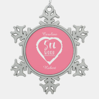 5. Hochzeitstag-rosa Herz Schneeflocken Zinn-Ornament