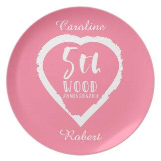 5. Hochzeitstag-rosa Herz Teller