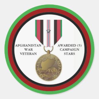 5 KAMPAGNEN-STERN-AFGHANISTAN-KRIEGSVETERAN RUNDER AUFKLEBER