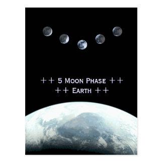 5 Moonphase Erde im Raum Postkarte