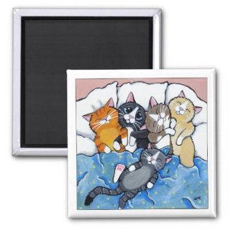 5 schläfrige Kätzchen - Katzen-Kunst-Magnet Quadratischer Magnet