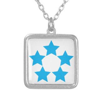 5 Sterne im Blau Versilberte Kette