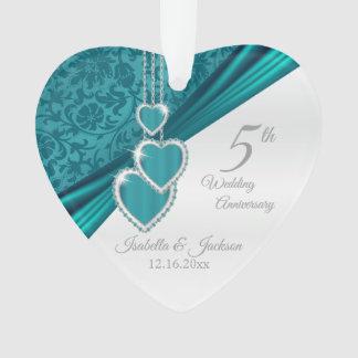 5. Türkis-Hochzeitstag Ornament