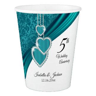 5. Türkis-Hochzeitstag Pappbecher