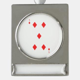 5 von Diamanten Banner-Ornament Silber