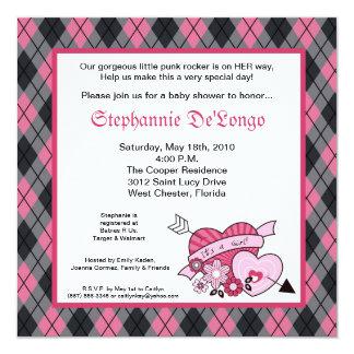 5x5 Punk-EMO Rocker-Rauten-Baby-Duschen-Einladung Quadratische 13,3 Cm Einladungskarte