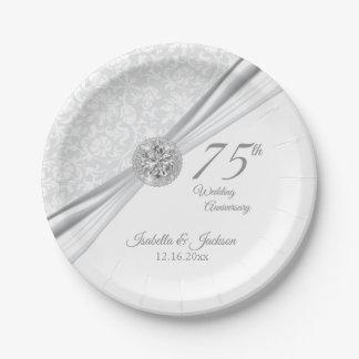 60./75. Diamant-Hochzeitstag auf Weiß Pappteller