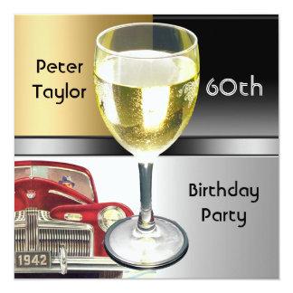 60. der Geburtstags-Mann Goldmetallsilber-der Quadratische 13,3 Cm Einladungskarte