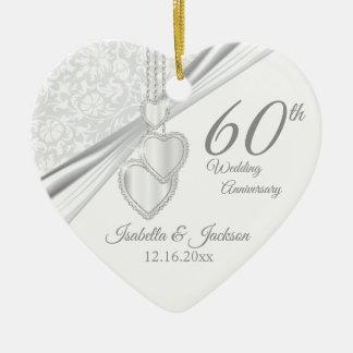 60. Diamant-Hochzeitstag Keramik Ornament