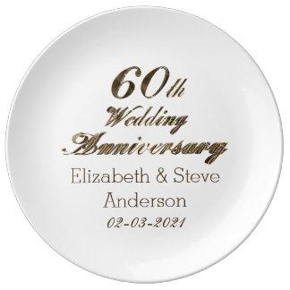 60. Diamant-Hochzeitstag-Typografie Porzellanteller