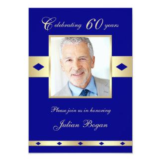 60. Foto-Geburtstags-Party Einladungs-Marine 60 12,7 X 17,8 Cm Einladungskarte