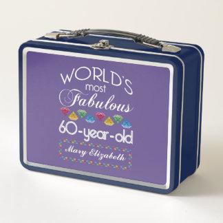 60. Geburtstag das meiste fabelhafte bunte Metall Lunch Box