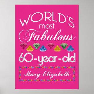 60. Geburtstag das meiste fabelhafte bunte Poster