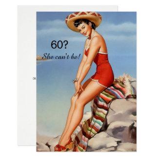 60. Geburtstag, Vintages, sexy Button herauf 12,7 X 17,8 Cm Einladungskarte