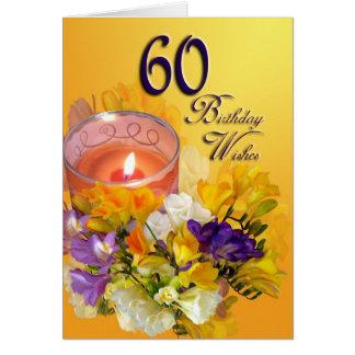 60. Geburtstag wünscht Karte - Freesias und Kerze