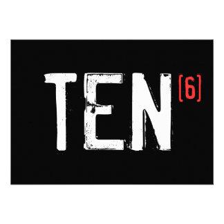 60. Geburtstags-Einladung - zehn zum Sixth