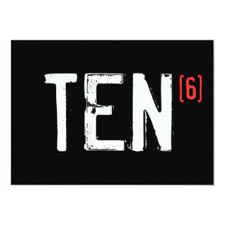 60. Geburtstags-Einladung - zehn zum Sixth 12,7 X 17,8 Cm Einladungskarte