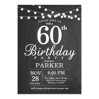 60. Geburtstags-Einladungs-Tafel-Schnur-Lichter 12,7 X 17,8 Cm Einladungskarte