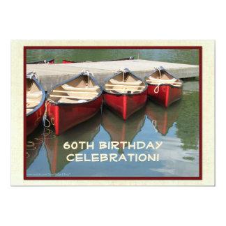 60. Geburtstags-Feier-Einladung, rote Kanus 12,7 X 17,8 Cm Einladungskarte
