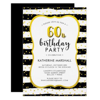 60. Geburtstags-gestreiftes Gold und Schwarzes 12,7 X 17,8 Cm Einladungskarte