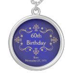 60. Geburtstags-Halskette - Vintager Rahmen-Anhäng