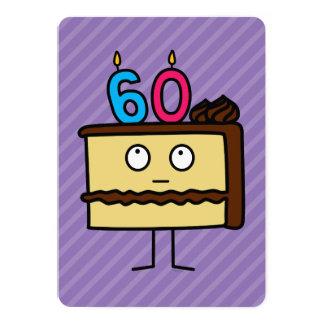 60. Geburtstags-Kuchen mit Kerzen 12,7 X 17,8 Cm Einladungskarte
