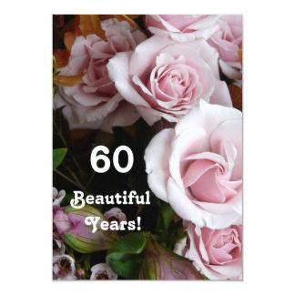 60. Geburtstags-Partei-Rosa-Rosen-Blumenstrauß 12,7 X 17,8 Cm Einladungskarte