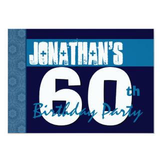60. Geburtstags-Party-blauer Muster-Mitternacht 12,7 X 17,8 Cm Einladungskarte