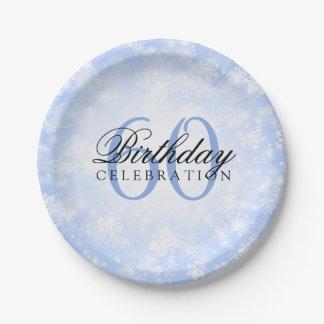 60. Geburtstags-Party-blaues Winter-Märchenland Pappteller