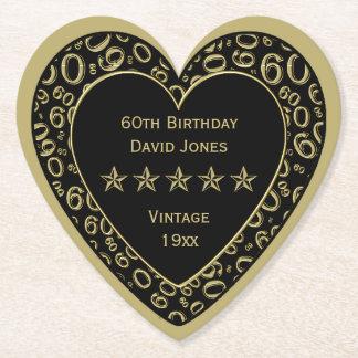 60. Geburtstags-Party-Gold und weißes Thema Untersetzer