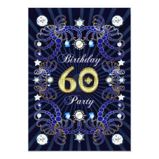 60. Geburtstags-Party laden mit Massen der Juwelen 12,7 X 17,8 Cm Einladungskarte